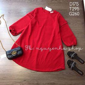 Đầm suông đỏ tay lỡ xinh tươi giá sỉ
