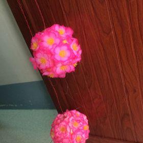 banh tú cầu hoa đào đường kính 1tat5 trang trí nhà dịp tết trang trí quánlẻ 10k mua sỉ ib giá sỉ