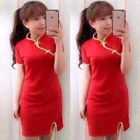 đầm đỏ co tàu giá sỉ