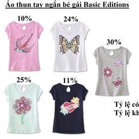 Áo thun tay ngắn bé gái Basic Editions Size 4/5 - 18T Hàng Cambo dư giá sỉ