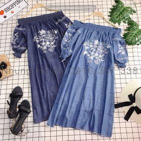 Đầm denim bẹt vai Thêu sắc nét chất lắm lun giá sỉ