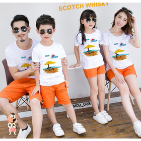 Áo gia đình áo đồng phục đi biển cotton đẹp đủ màu đủ size 5-110kg giá sỉ