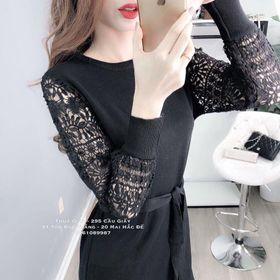 Đầm Suông Phối Ren Tay Dài Cột Eo giá sỉ