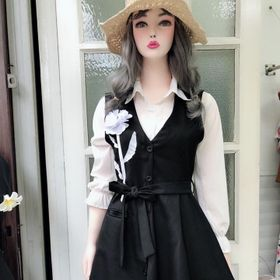 Set Đầm Sơ Mi Tay Dài Đầm Vest Ngoài Xếp Ly giá sỉ