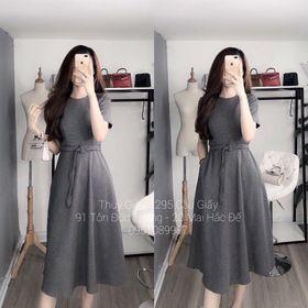 Đầm Xoè Tay Ngắn Caro Nhí Kèm Belt giá sỉ
