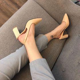 giày xanh đan cao gót vuông mũi nhọn giá sỉ