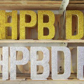 Bộ chữ gỗ HPBD phủ kim tuyến cao 20cm giá sỉ