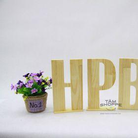 Chữ gỗ HPBD cao 20cm màu tự nhiên giá sỉ