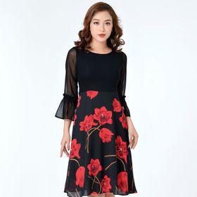Váy đen hoa đỏ giá sỉ