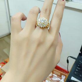 nhẫn vàng non hình hoa đính đá giá sỉ