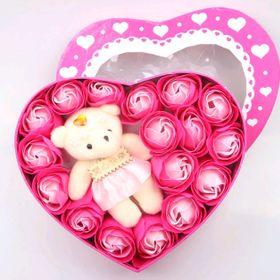 Hoa hồng sáp trái tim kèm gấu giá sỉ