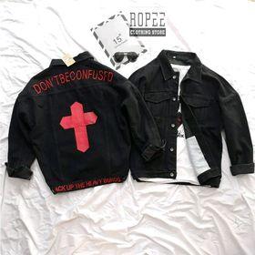 Áo khoác jean thêu chữ thập siêu HOT giá sỉ