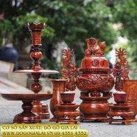 Bộ đồ thờ bằng gỗ Hương Gia Lai giá sỉ