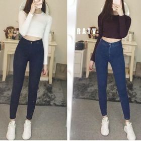 quần jean nữ lưng cao đai trơn siêu đẹp tôn giáng 001a giá sỉ