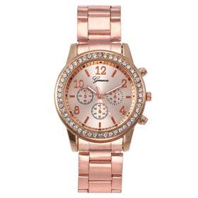 đồng hồ nữ đeo tay dây kim loại màu hồng giá sỉ