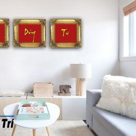 Bộ 3 Chữ PHÚC DŨNG TRÍ vuông nền đỏ viền đen chữ vàng giá sỉ