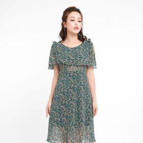 Đầm voan hoa nhí màu xanh giá sỉ