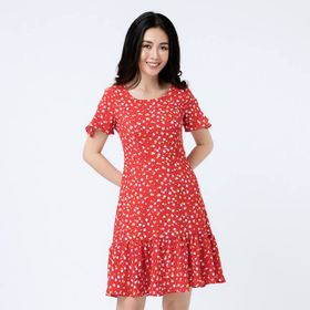 Đầm đỏ hoa đuôi cá giá sỉ