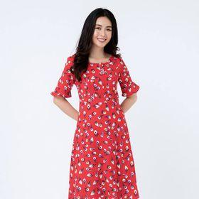 Đầm đỏ hoa giá sỉ