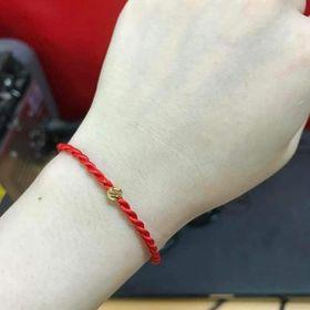 vòng tay chỉ đỏ bi bạc ta phủ vàng 24k giá sỉ