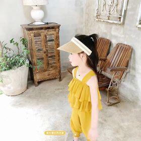 Đồ bộ bé gái áo tai bèo màu vàng - BB02V giá sỉ
