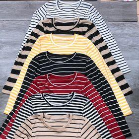 Áo gân len tay dài nhiều màu sọc ngang giá sỉ