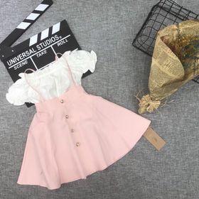 Đầm thiết kế áo bẹt vai nhún bèo giá sỉ