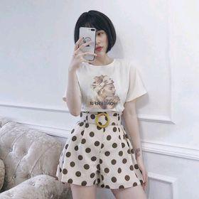 Sét cô gái 3D mix quần sooc bi đai Chất cotton 4c mịn đẹp giá sỉ