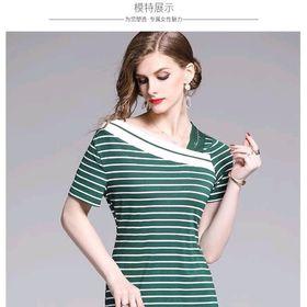 Đầm len sọc trễ vai xinh xắn giá sỉ