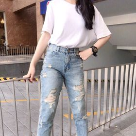 Quần baggy jean nữ rách phong cách thời trang giá sỉ