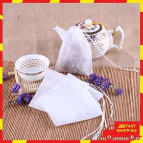Set 100 túi lọc trà thảo mộc 55 x 7 có dây rút bằng vải không dệt siêu tiện lợi giá sỉ