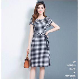 Đầm suông ca rô tay ngắn kèm nơ eo sỉ từ 5 sp bất kì giá sỉ