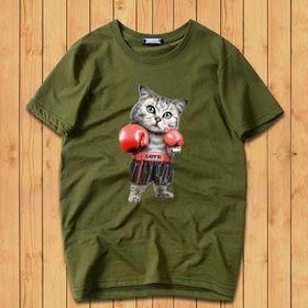 áo thun cổ tron in hình con mèo giá sỉ