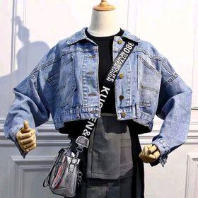 Áo khoác jean nữ form tay rộng như hình giá sỉ