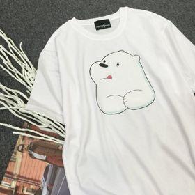 Áo thun unisex phông rộng gấu trắng giá sỉ