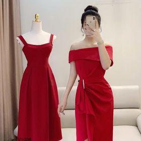 Đầm Body Bẹt Vai Xếp Ly Tà Đính Ngọc Chất Umi Đỏ Xanh Free Size Kèm Hình Thật giá sỉ