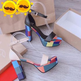 Giày sandal gót trị phối màu da đẹp giá sỉ