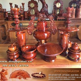 Bộ lư thờ gỗ hương loại trơn giá sỉ