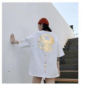 Áo thun nữ mèo yêu tinh màu trắng nhũ vàng giá sỉ