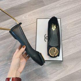 Giày bệt nữ da mềm khóa chữ đen giá sỉ