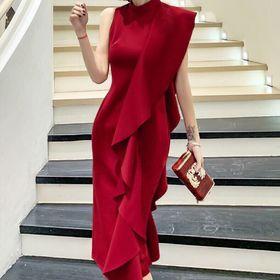 Đầm lệch vai đỏ bèo cao cấp giá sỉ