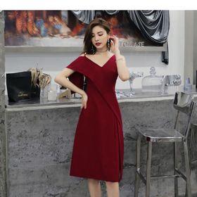 Đầm đỏ lệch vai giá sỉ