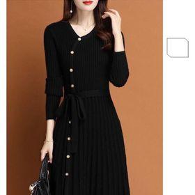 Đầm len phối nút basic giá sỉ