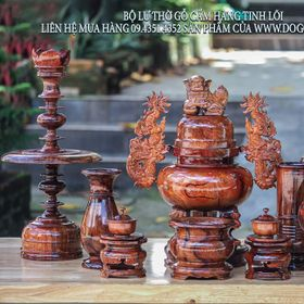 Bộ đồ thờ gỗ cẩm nguyên lõi giá sỉ
