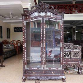 Tủ rượu gỗ gụ tân cổ điển khảm ốc TR001 giá sỉ