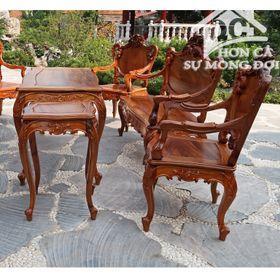 Bàn ghế louis gỗ gụ ta quảng bình bộ 9 món giá sỉ