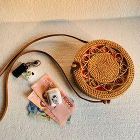 Túi mây tre đan uốn tròn- 20cm túi cói XinhXinh giá sỉ
