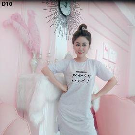 Đầm suông thun cotton fom rộng in chữ Please Enjoy giá sỉ