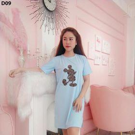 Đầm suông cotton fom rộng in hình chuột giá sỉ