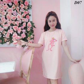 Đầm suông thun cotton fom rộng in hình báo hồng giá sỉ